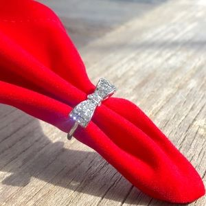 Silver Bow Knot Ring, Brand New With Velvet Pouch